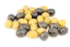 Whole black and green olives Stock Photography