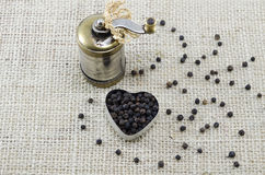 Whole black peppercorns and a pepper grinder Stock Photography