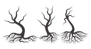 Three Full black tree with roots stock illustration