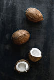 Whole and broken coconuts over dark grunge background Royalty Free Stock Photo