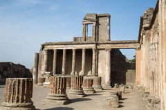 Whole and Broken Columns in Pompeii Stock Photo