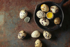 Whole and broken quail eggs Royalty Free Stock Photo