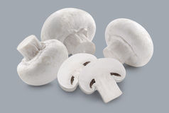 Whole button mushrooms and slices  on grey background Royalty Free Stock Images