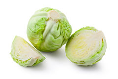 Whole cabbage and two slices Royalty Free Stock Photography