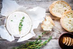 Whole Camembert cheese with thyme, honey and baguette Stock Photos
