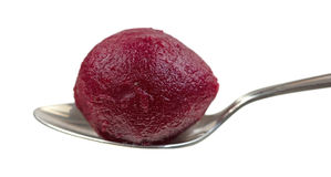 Whole Canned Beet In Spoon Royalty Free Stock Photography