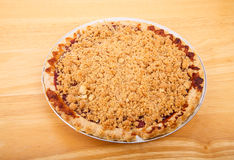 Whole Cherry Pie on Wood Board Royalty Free Stock Photos