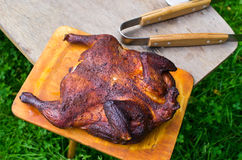 Whole chicken on the BBQ Royalty Free Stock Photos