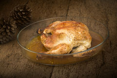 Whole Chicken golden roast Stock Photography