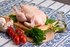 Whole chicken and herbs Royalty Free Stock Photos