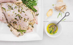 Whole chicken preparation for grill roasting Stock Images