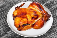 Whole chicken roasted in oven on white platter Stock Photo