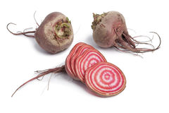 Whole chioggia beets and slices. On white background Royalty Free Stock Photography
