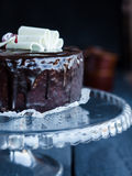 Whole chocolate cake with butter cream and cherries, sweet Royalty Free Stock Photos