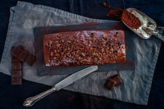 A Whole Chocolate Cake in Dark Mood Stock Image