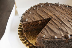 Whole chocolate cake Stock Images
