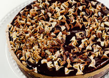 Whole Chocolate cake on   plate Royalty Free Stock Image