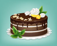 Whole chocolate cake. Vector whole chocolate puff cake with icing, whipped cream, nuts, fruits and mint on white lace napkin Stock Photos