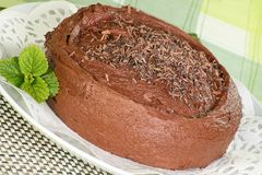 Whole chocolate fudge cake. Chocolate fudge cake covered with chocolate cream topping Royalty Free Stock Images