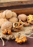 Whole and chopped walnuts Royalty Free Stock Photography
