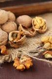 Whole and chopped walnuts Stock Photos