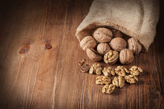 Whole and chopped walnuts Stock Image