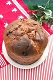 Whole christmas italian cake panettone top view Royalty Free Stock Images