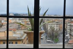 A whole city view through the window stock photography