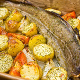 Whole cod with vegetables Royalty Free Stock Photo