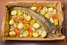 Whole cod with vegetables Stock Photos