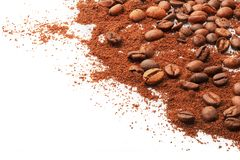 Whole coffee beans and ground on a white background stock photo