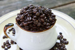 Whole Coffee Beans in a Mug Stock Photography