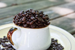 Whole Coffee Beans in a Mug Stock Images