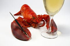Lobster with Wine Stock Photography