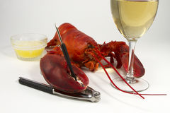 Lobster Dinner with Wine Stock Images