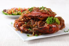 Whole crab on plate. On linen Royalty Free Stock Photos