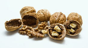 Whole and cracked walnut isolated on the white background. Stock Image