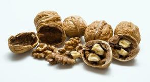 Whole and cracked walnut isolated on the white background. Stock Image