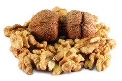Whole and Cracked Walnuts Royalty Free Stock Images