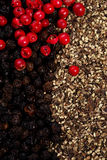 Whole and crashed  black and red peppercorns Stock Images