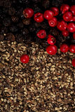Whole and crashed  black and red peppercorns Royalty Free Stock Image