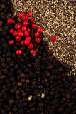 whole, crashed and ground black and red peppercorns Stock Images
