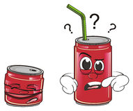 Whole and crumpled soda cans. Red whole can with tube and  crumpled can stand together Royalty Free Stock Photos