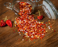 Whole and crushed red pepper Stock Images