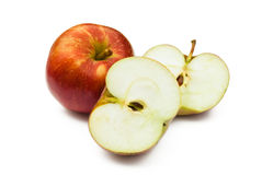 Whole and cut apples Stock Image