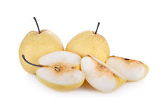 Whole and cut Chinese pear or Nashi pear with stem on white back Stock Photos