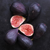 Whole and cut figs Stock Photos
