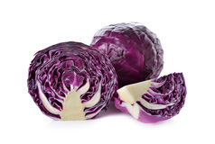 Whole and cut fresh red cabbage on white. Background Stock Photography