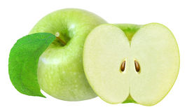 Whole and cut in half green apple with leaf isolated on white with clipping path Royalty Free Stock Photography