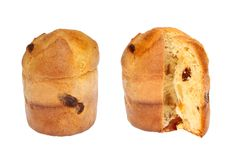 Whole and cut panettone Stock Image